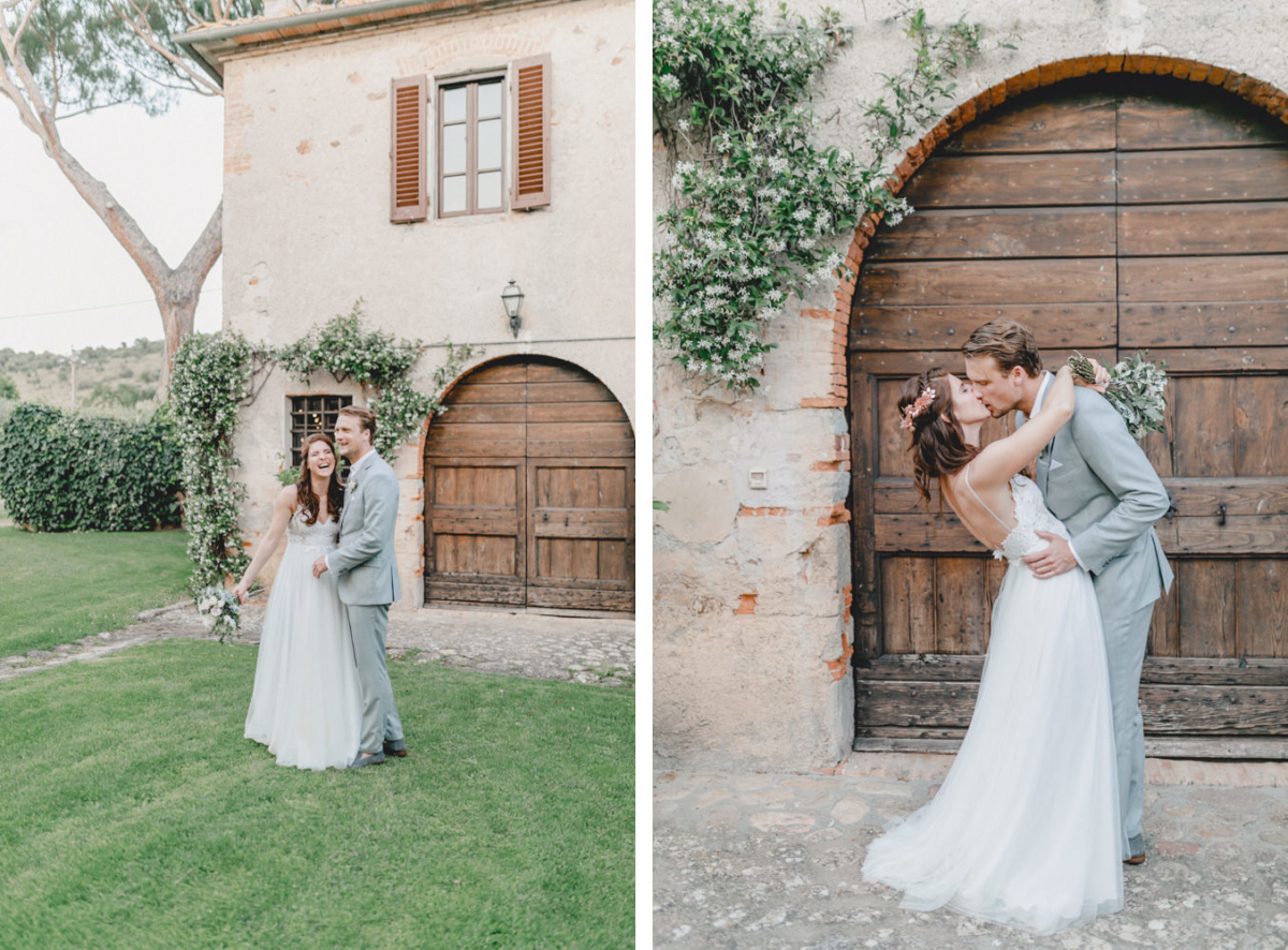 Brautpaar bei Fotoshooting mit Hochzeitsfotografen in Italien