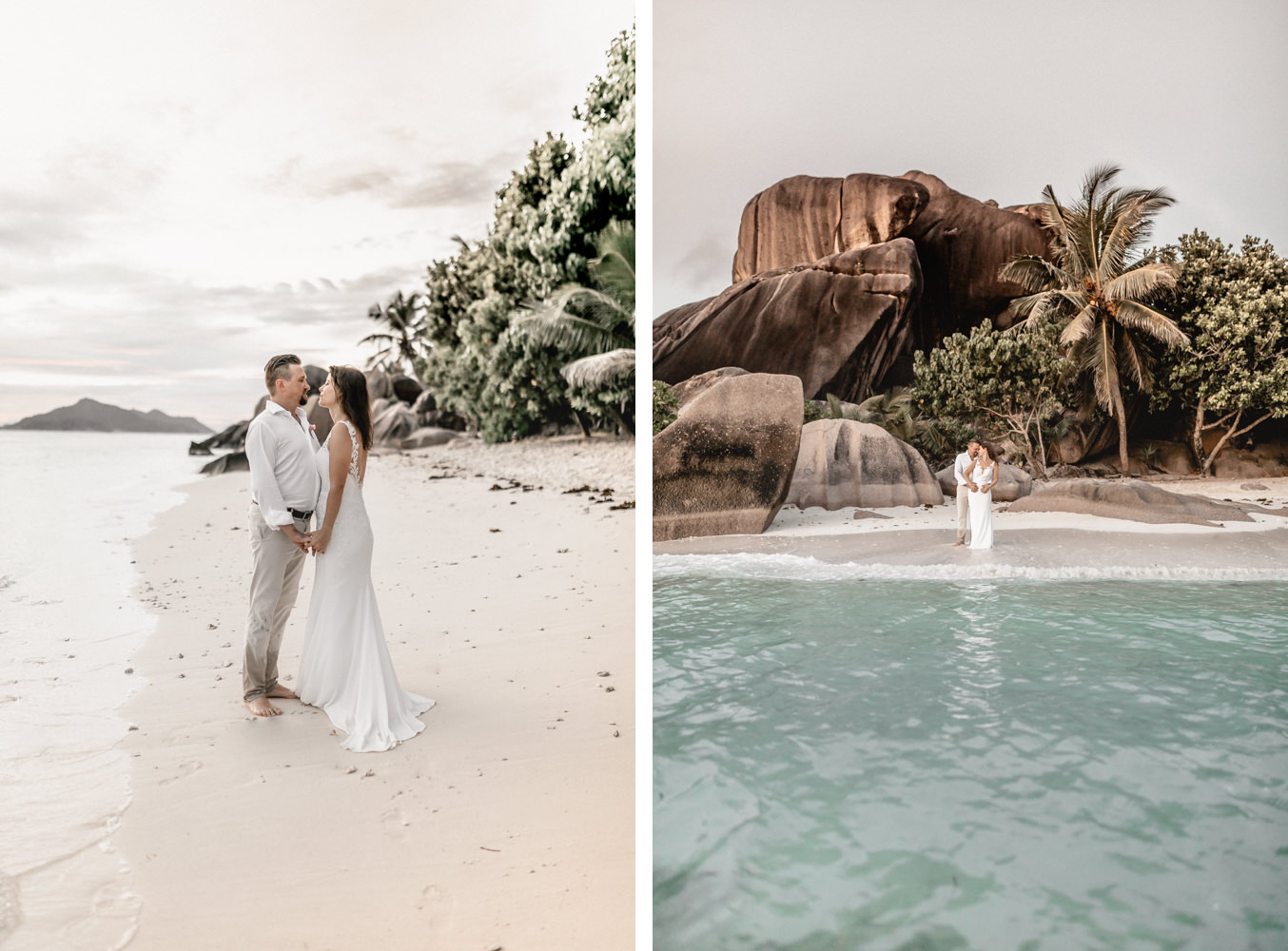 Elopementphotographer on Seychelles with bridal couple