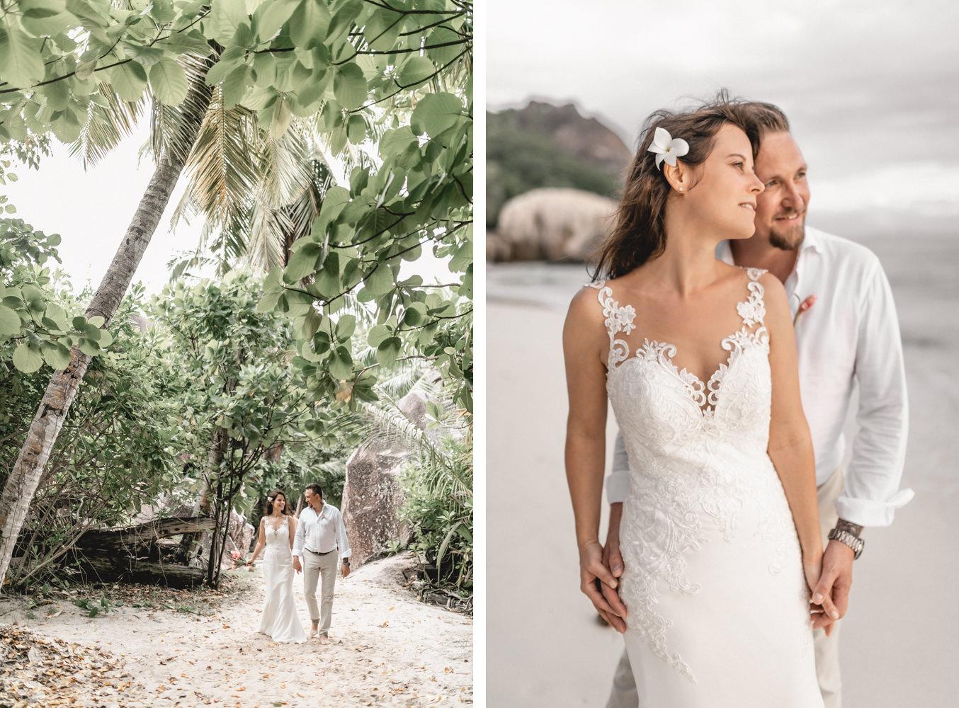 Hochzeitsfotograf mit Brautpaar am Strand von Anse Source D'Argent auf den Seychellen