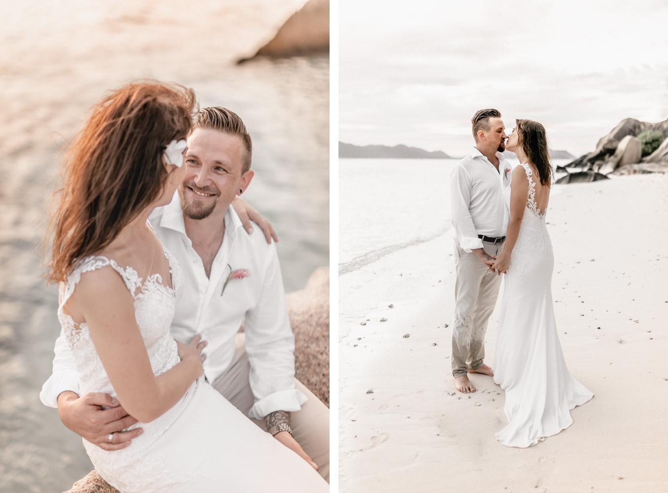 Brautpaarshooting nach Hochzeit auf den Seychellen am Strand von Anse Source D'Argent