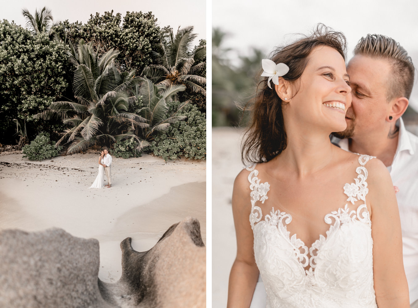 Weddingphotography at Domaine de l'Orangeraie with bridal couple at the beach of Seychelles