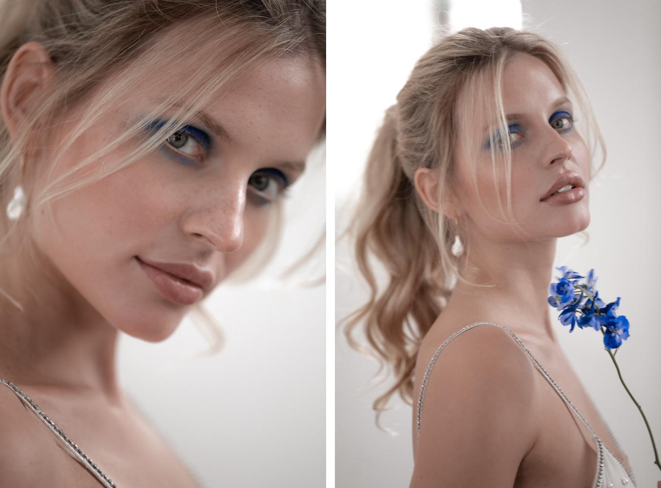 Protrait von Braut mit blauer Blume
