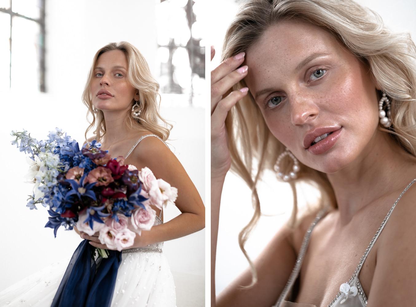 Model in Hochzeitskleid Braut Inspiration