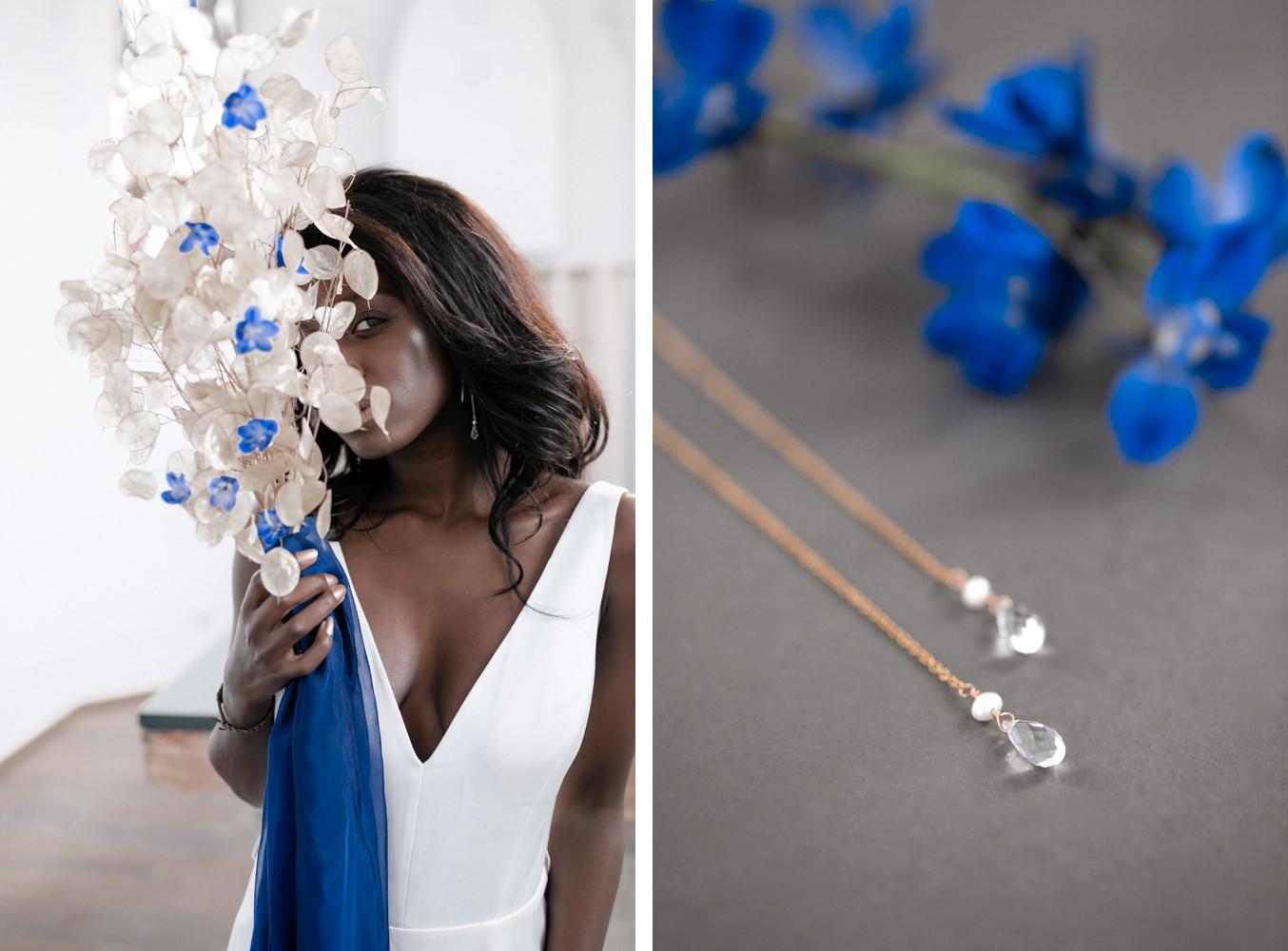 Hochzeitskleid und Brautschmuck mit blauen Details