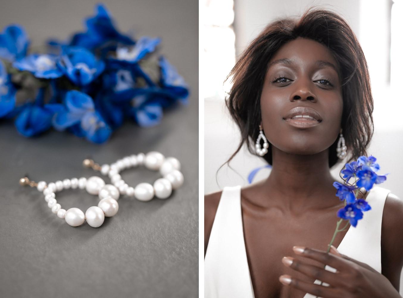 Brautschmuck von Juvelan und Braut Portrait mit Blume