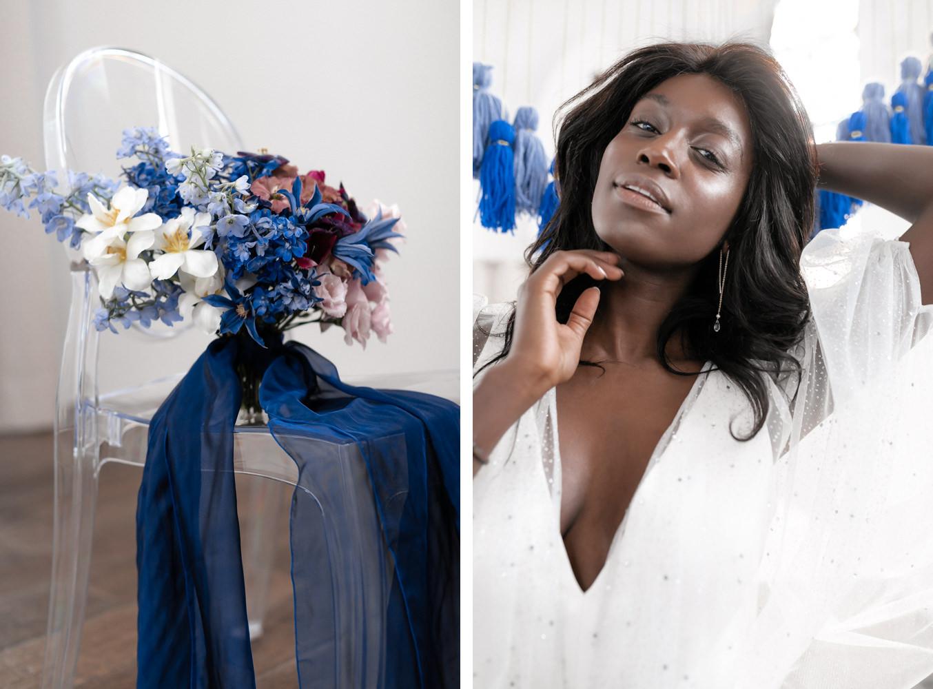 Brautstrauß auf Stuhl und Braut Inspiration Portrait