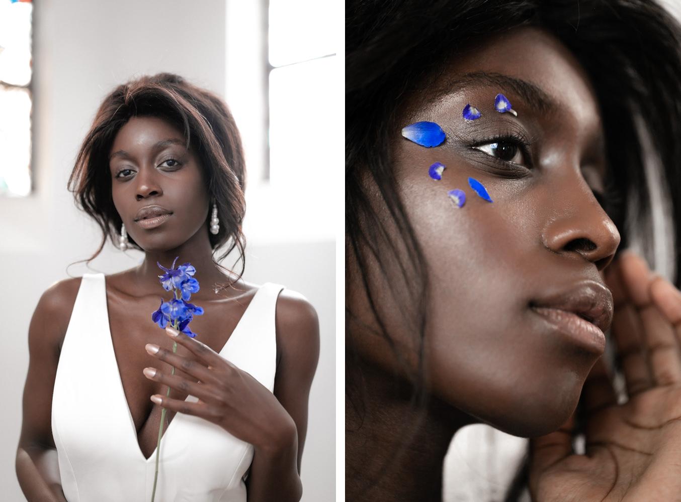 Braut Portrait mit blauen Details
