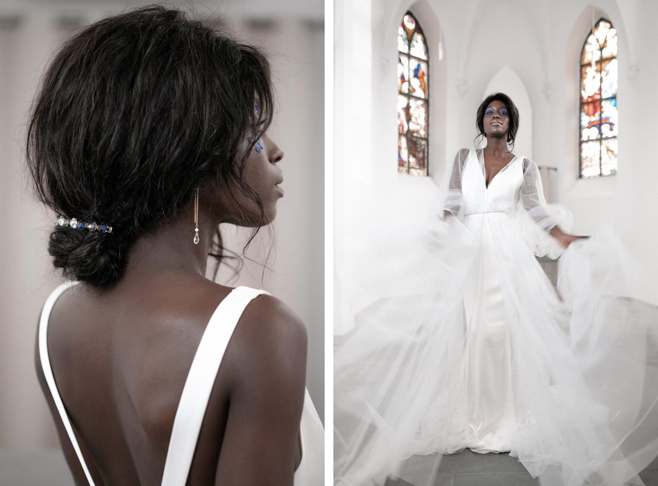 Braut in Kirche mit Jenny Packham Brautkleid