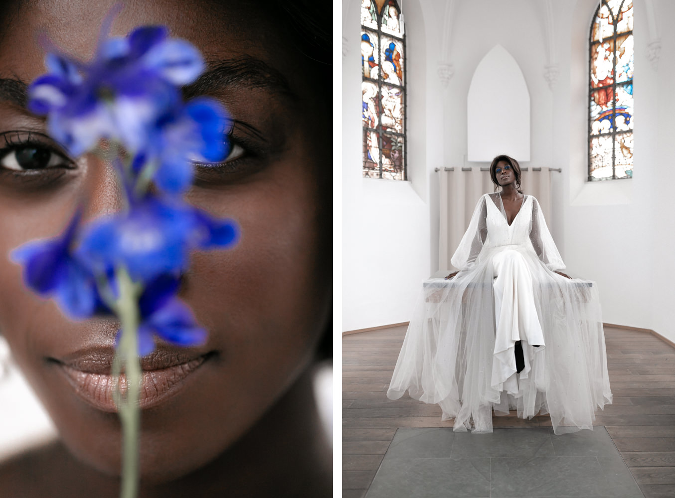 Bride in Church with Jenny Packham bridal dress